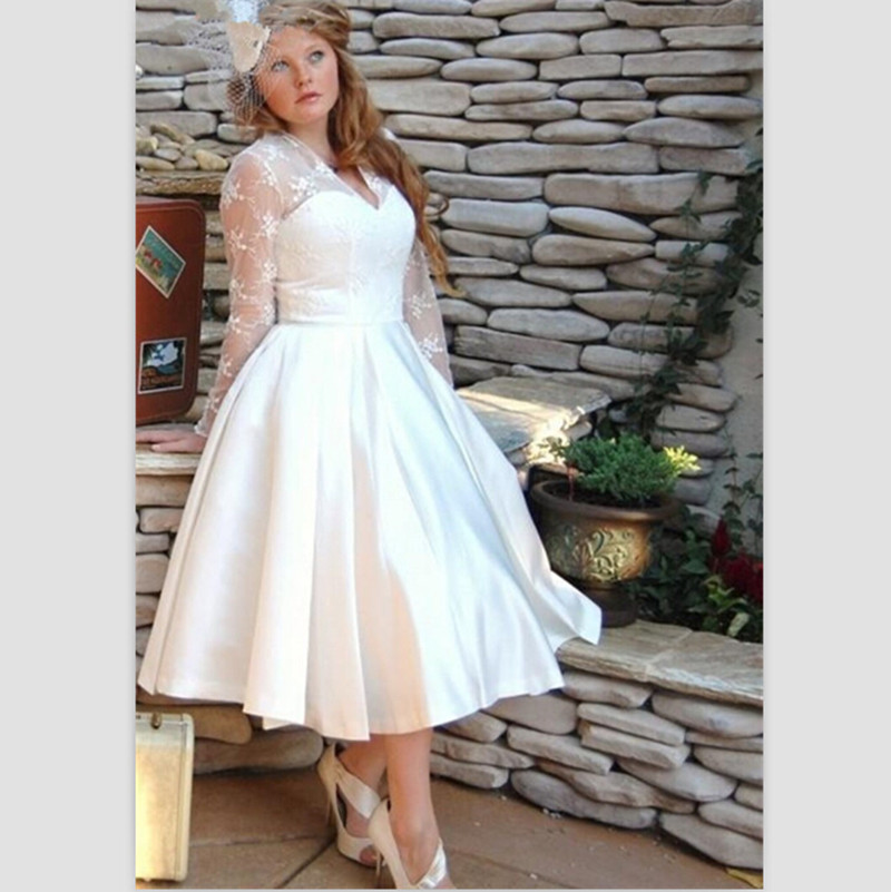 Buy short wedding dresses plus size 2015 for Long sleeve plus size wedding dress
