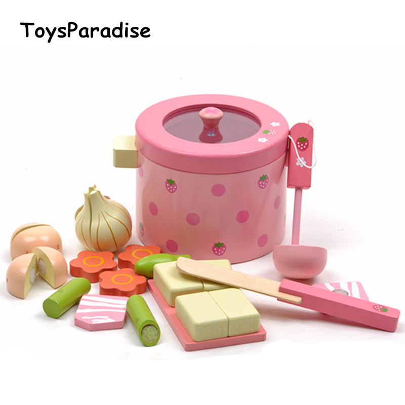 Free Shipping! Wooden Toys Super Cute Mother Garden Strawberry Simulation Vegetable Hot Pot Pink Children Prentend Play Toys baby toys