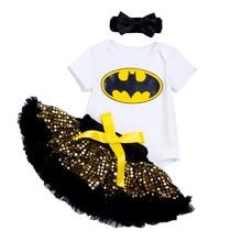 YK & Loving Halloween Paillette niñas ropa de bebé Bat personaje impreso Bodysuit amarillo lentejuelas tutú faldas envío gratis ropa