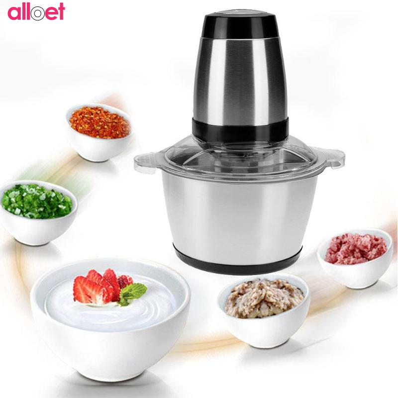 2L Automatic Electric Meat Grinder Chopper Mincing Machine Multi-function Food Processor Household Spice Fish Meat Chopper cukyi household electric multi function cooker 220v stainless steel colorful stew cook steam machine 5 in 1