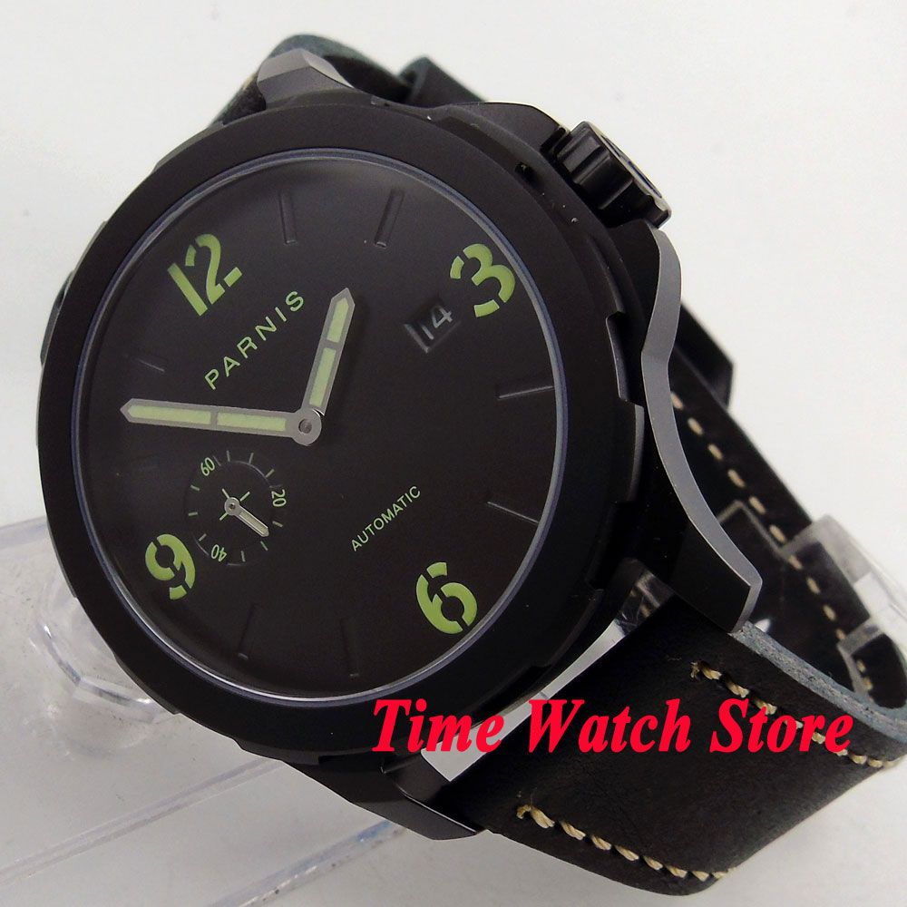 44mm Parnis luminous hands sapphire glass seagull 2555 mens watch 780 PVD case 5ATM water resistance цена и фото