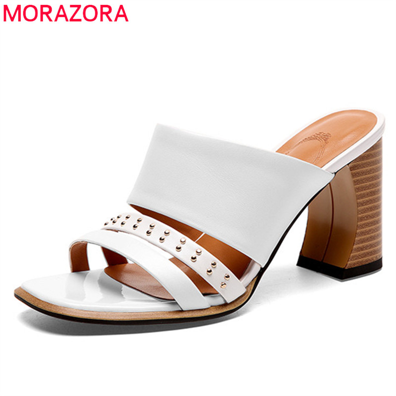MORAZORA 2019 new arrival genuine leather shoes woman rivet summer high heels sandals elegant party wedding shoes woman MORAZORA 2019 new arrival genuine leather shoes woman rivet summer high heels sandals elegant party wedding shoes woman