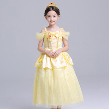 ABGMEDR Brand 5 New Styles Belle Dress Girls Children Christmas Chothing Girl Yellow Dress Monsoon Kids Princess Dresses 3-10Yrs(China)
