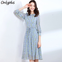 Onlyplus S XXL Summer Autumn Chiffon Printed Dress Women Elegant Party Long Dress Floral Print Slim Beach Casual Female Vestidos