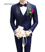 Fashionable Navy Mens Peak Collar Suits Tuxedos Wedding Suits For Men Costume Hommes Smoking Dinner Party Groom Marriage Suits