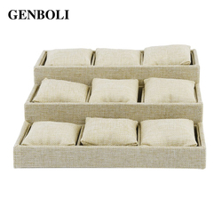 Genboli 9 grids watch bracelet tray casket jewelry linen packaging display holder rack gift organizer storage.jpg 250x250