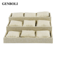 GENBOLI 9 Grids Linen Cloth Jewelry Display Tray Holder Shop Presentation Organizer Storage Box For Earrings