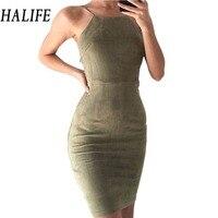 HALIFE Phụ Nữ Clubwear Sexy Backless Nhung Dây Đeo Váy Spaghetti Lại Ren Chéo Lên Tắt Shoulder Mini Bodycon Dress Feminino 610