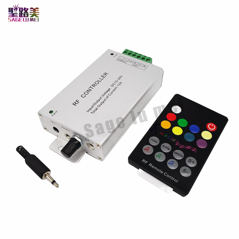 DC12V-24V audio-eingang Wireless RF Fernbedienung, Sound RGB led Musik Controller Dimmer 5050 2835 RGB LED Streifen licht band
