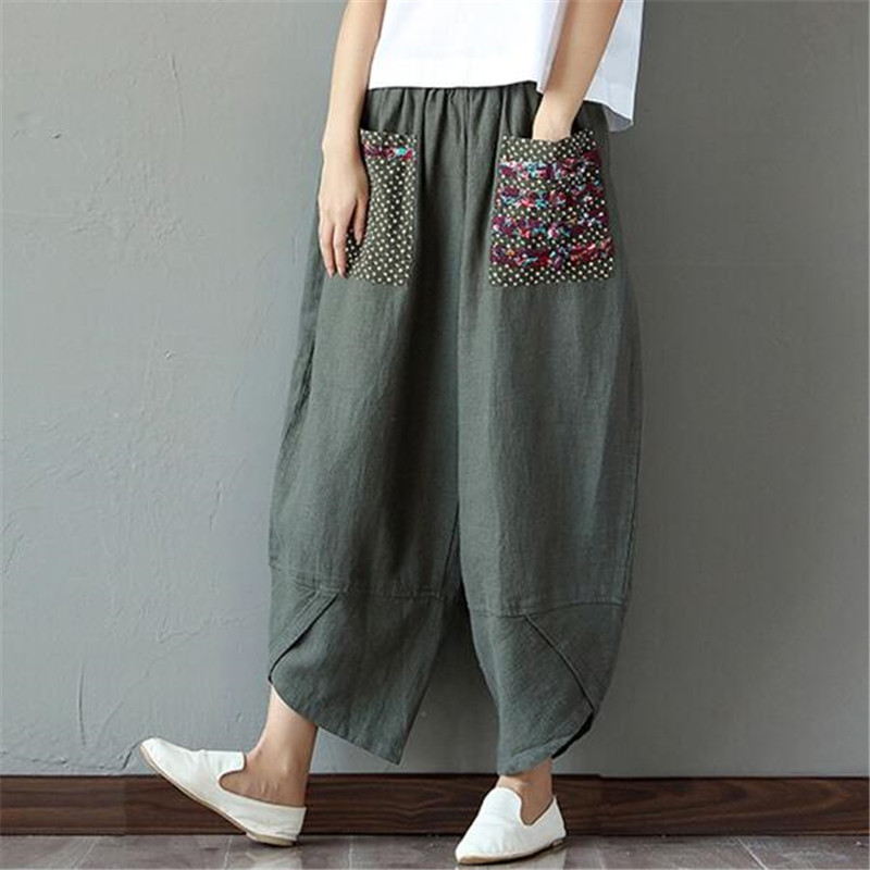 2019 Cotton Linen   Wide     Leg     Pants   Woman Casual Flower Printed Loose Full Length Trousers Elastic Waist Trousers Female Army Green