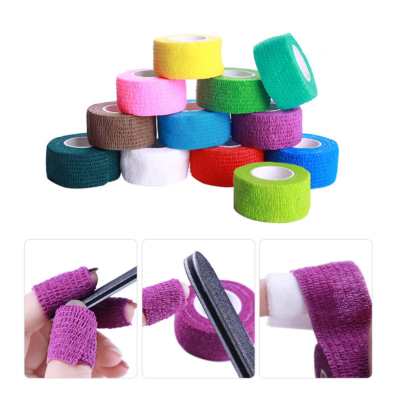 5 Pcs Nail Art Gel Polish Remove Bandage Roll Tape Skin Care Protect Nail Art Tool Accessory Random Colors