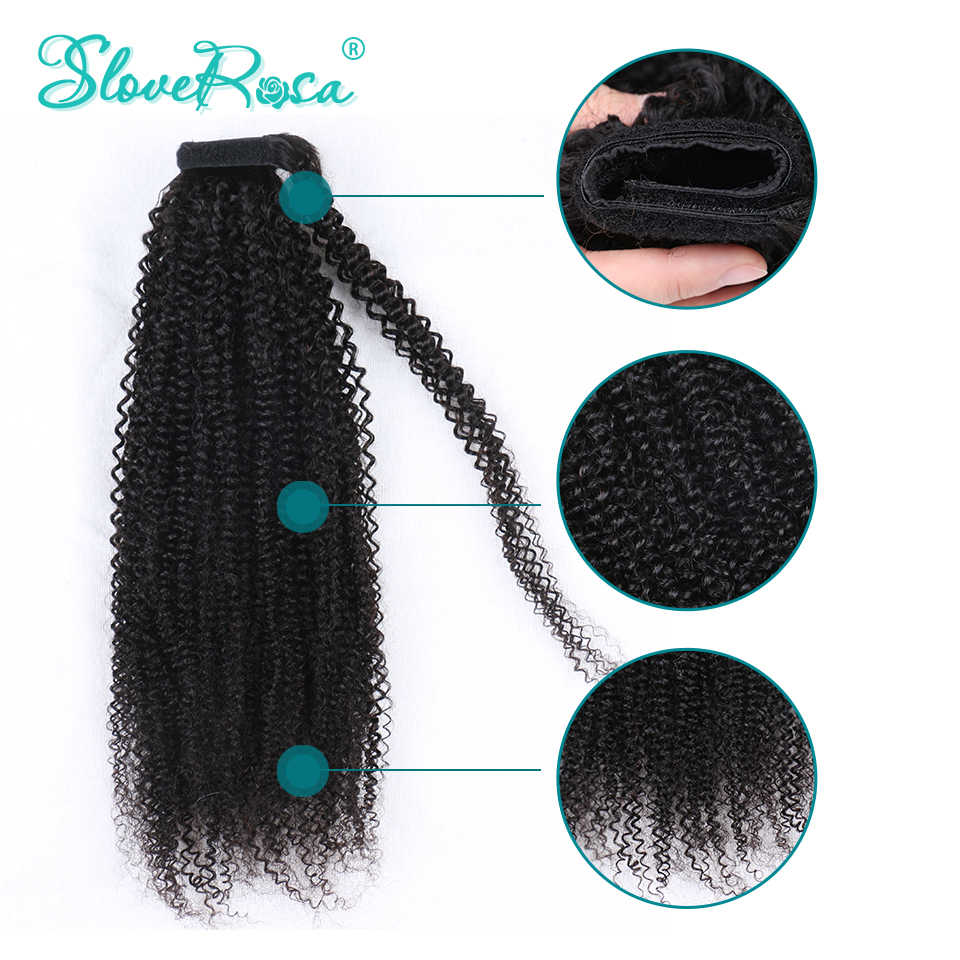 Kinky Curly Ponytails Brazilian Hair For Woman Natural Black Color 150g Remy Human Ponytails Clip-In Slove Rose