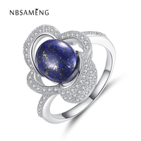 Original Authentic S925 Sterling Silver Finger Ring Luxurious Paved Micro Crystal Blue Lapis Lazuli Rings Women Party Jewerlry