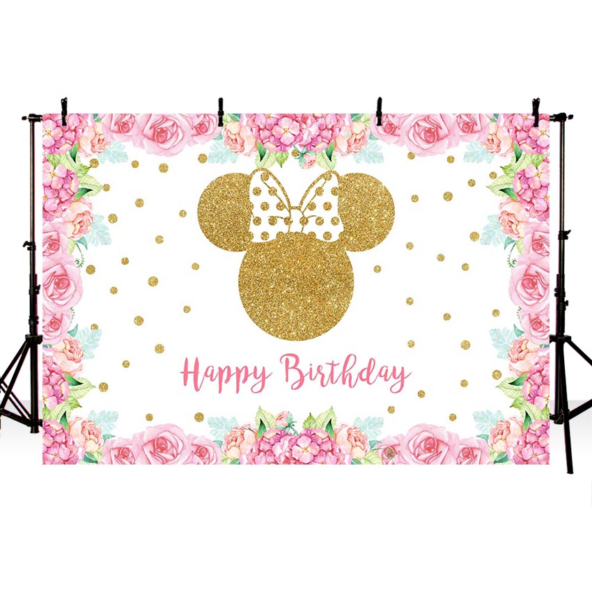 Pink Gold Wave First Birthday Banner Party Decoration Backdrop