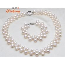 [Yinfeng] joyería de Moda de Lujo Barroco blanco botón de cuentas de collar de perlas para las mujeres de Alta calidad de joyería de la boda regalo de cumpleaños