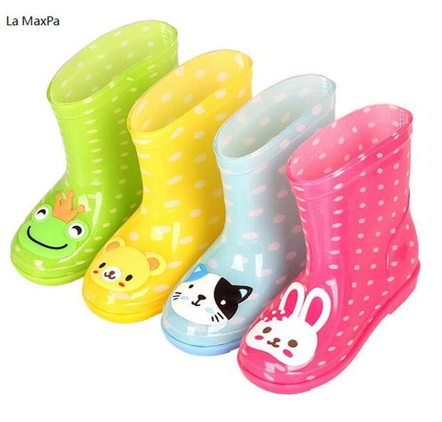 2018 yeni bebek çizmeleri Çocuk yağmur çizmeleri Karikatür Baskı Ile Kız Çocuk yağmur ayakkabıları Yay Su Geçirmez Çocuk lastik çizmeler Bebek ayakkabı
