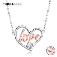 Strollgirl 925 sterling silver AMOR Coração de OURO Colares & Pingentes Autêntica Prata Esterlina Jóias Para Presente do Amante Casal