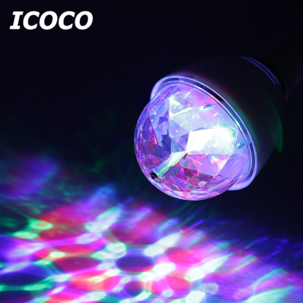 ICOCO E27 3W Multi-color Rotating RGB LED Bulb Stage Light for DJ Night Club Pub Party Disco Home Decor Flash Deal Hot Sale