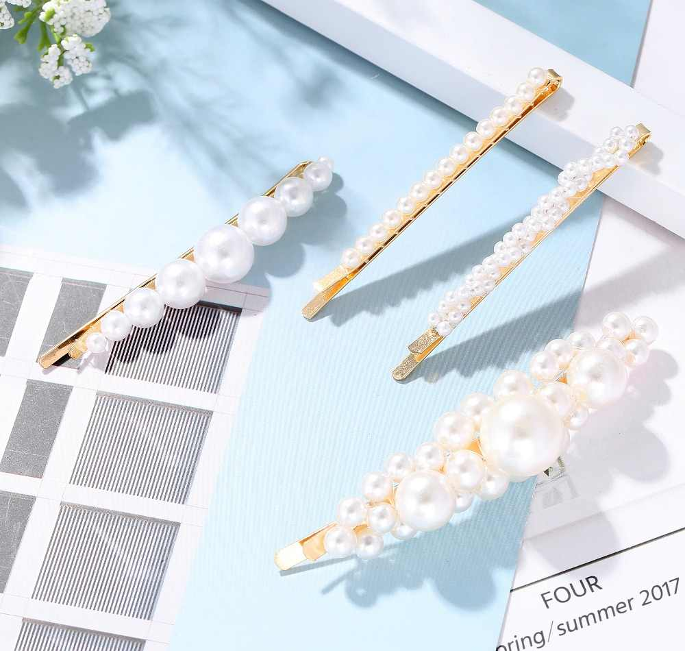 Модные заколки для волос с искуственным жемчугом зажим для Для женщин Элегантные корейские туфли-лодочки, дизайн свадебные шпильки для волос аксессуары A0007