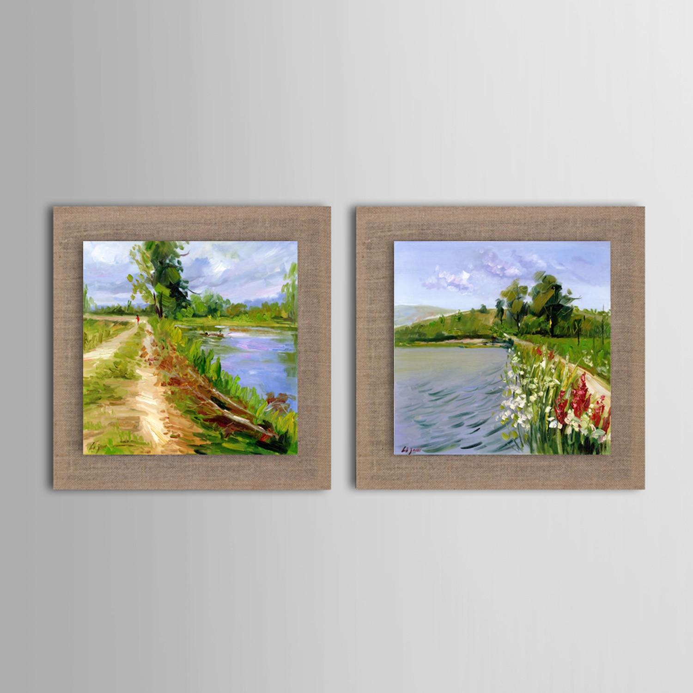 Новая картина маслом Современный жизни берег реки набор из 2 ручная роспись украшения дома натурального льна с Гостиная ...