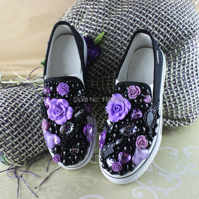 b614cca71f03 2014 new DIY rhinestone pearl shoes Princess lolita shoes women sneakers  black female flats flowers Driving girls school shoes