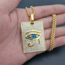 Ancient Egypt The Eye Of Horus Pendant Necklaces Gold Color Stainless Steel Square Necklaces Iced Out Bling Jewelry Dropshipping(China)