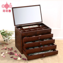 Wooden jewelry box style retro wooden drawer with a large capacity mirror dressing