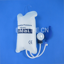 Medical pressure Infusion bag,QUALITY FLUID 500 ml with gauge 0 – 500 mbar and hand pump ball with spoon