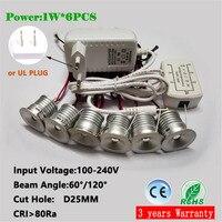 1 w teto led downlight  25mm recorte 60d/120d recesso luz  AC100-240V entrada escurecimento holofotes  iluminação interior 6 pçs/set