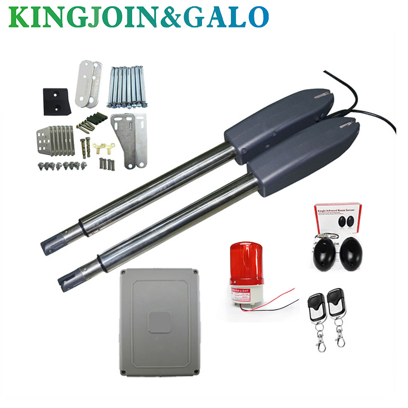 Electric gates / Electric Swing Gate Opener 400 KG Swing Gate Motor With 2 Remote Control wit 1 pair of photocells 1 alarm light galo 300 kg double arms swing gate opener door motor kit with 1 pair of photocells 1 alarm light