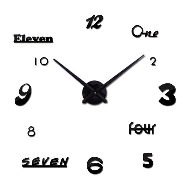 hot sale 3d wall clock quartz watch modern diy clocks living room large decorative horloge murale modern style stickers