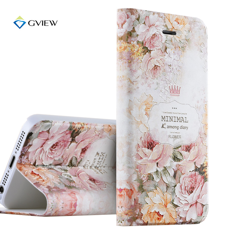 Gview 5S SE Case Luxury PU Leather 3D Relief Printing Stereo Flip Cover Case For iPhone