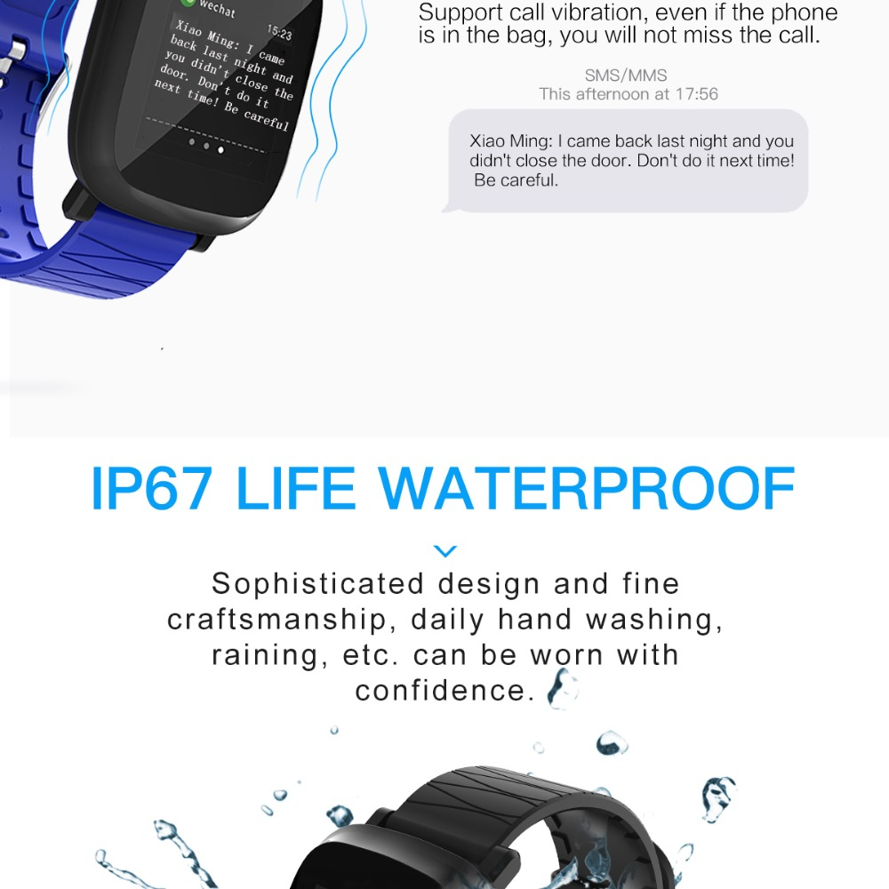 Bluetooth Digital Watch sport Fitness Tracker heart rate monitor For IOS iPhone 6