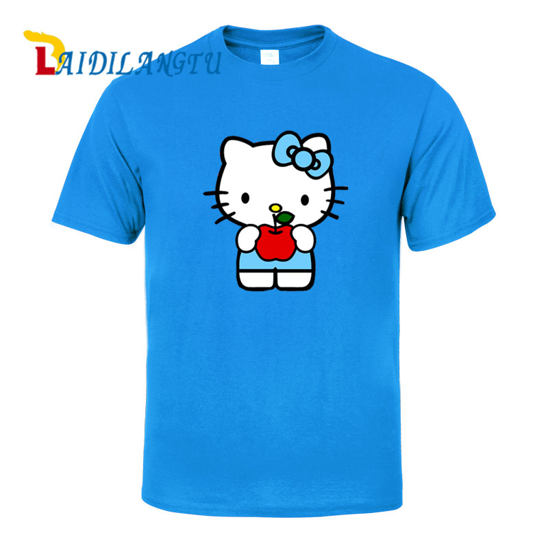 New Fashion Hello Kitty   T  -  Shirt   Men's Cotton   T     Shirts   Short Sleeve Tops Tees