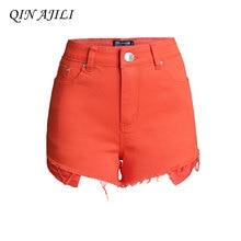 QIN AJILI Femme Short & Hot Pants Regular Straight Sexy Club Denim Trousers High Waist Zipper Cotton Candy Mujer Free Shipping