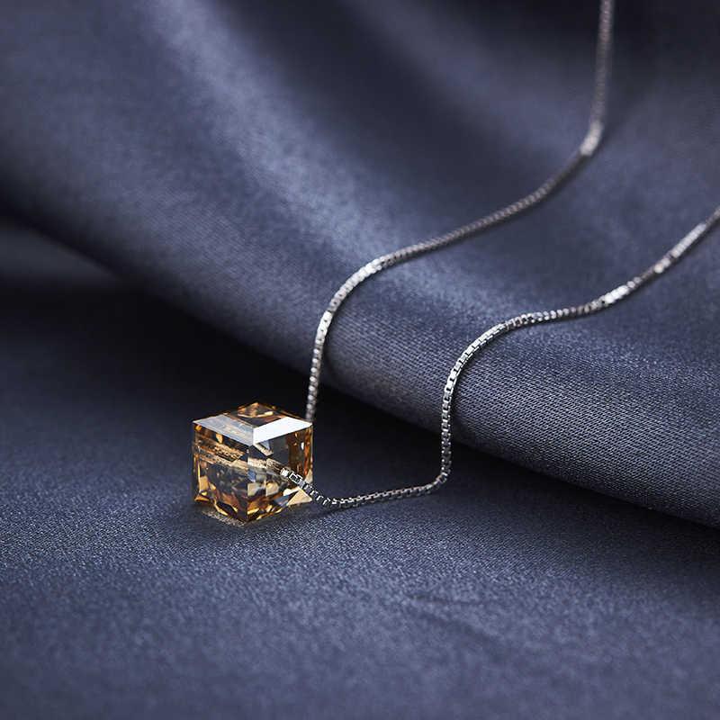 BAFFIN คริสตัลจาก Swarovski ที่มีสีสัน Cube ลูกปัดสร้อยคอจี้เงินสร้อยคอสำหรับงานแต่งงานของขวัญเก๋