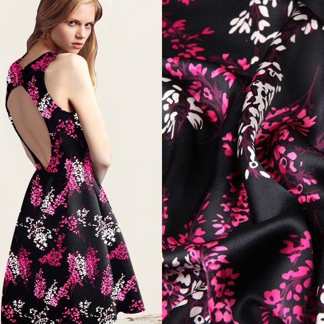 2cfb327595 114 cm de largura 16.5mm roxo vermelho estampado floral preto de seda crepe  satin tecido