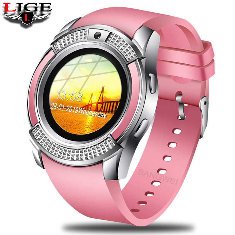 LIGE 2019 New Women Smart Watch LED Color Screen Fashion Sport Pedometer Watch Android Smart Phone Watch Relogio inteligente