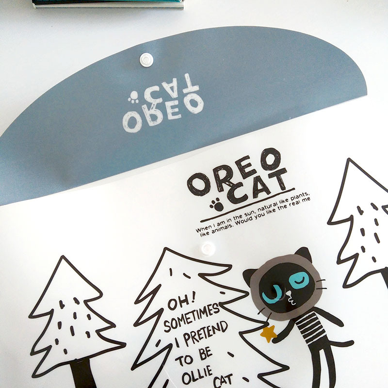 4X Cute Oreo Cat Soft oxford A4 Stationery Storage Case Box School Office Supply Student Gift cute cat pen holders multifunctional storage wooden cosmetic storage box memo box penholder gift office organizer school supplie