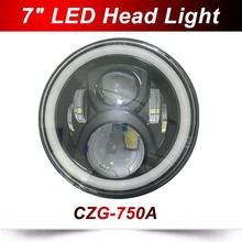 CZG 750A 7 round 50w led head light with high beam low beam white DRL amber