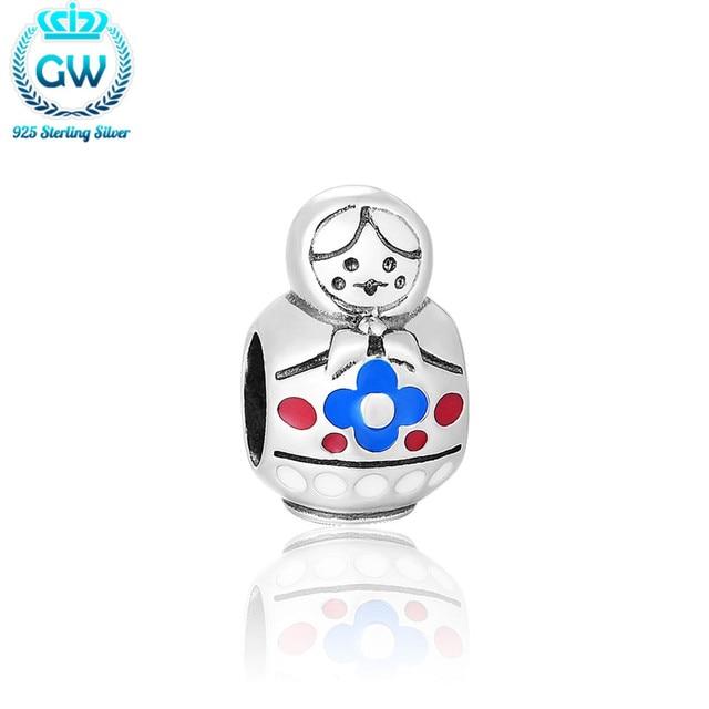 Russian Doll Charm Silver Enamel Jewelry Fit Sterling Silver Snake Bracelet Brand Gw Jewellery D199-50