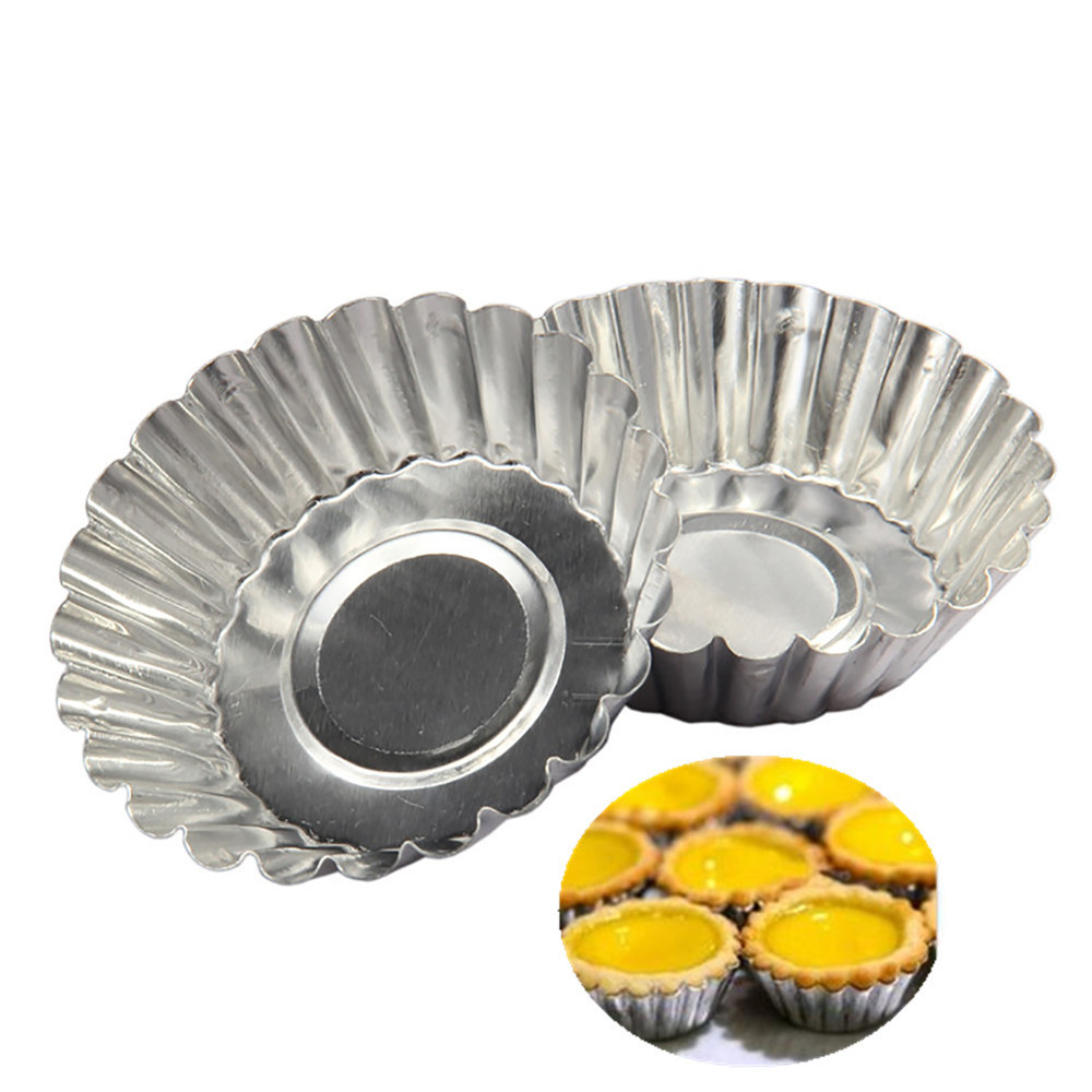 10Pcs Aluminum Cupcake Egg Tart Mold Cookie Pudding Mould Makers Kitchen Accessories Baking Pastry Tools Egg Tart Chop Cake Mold