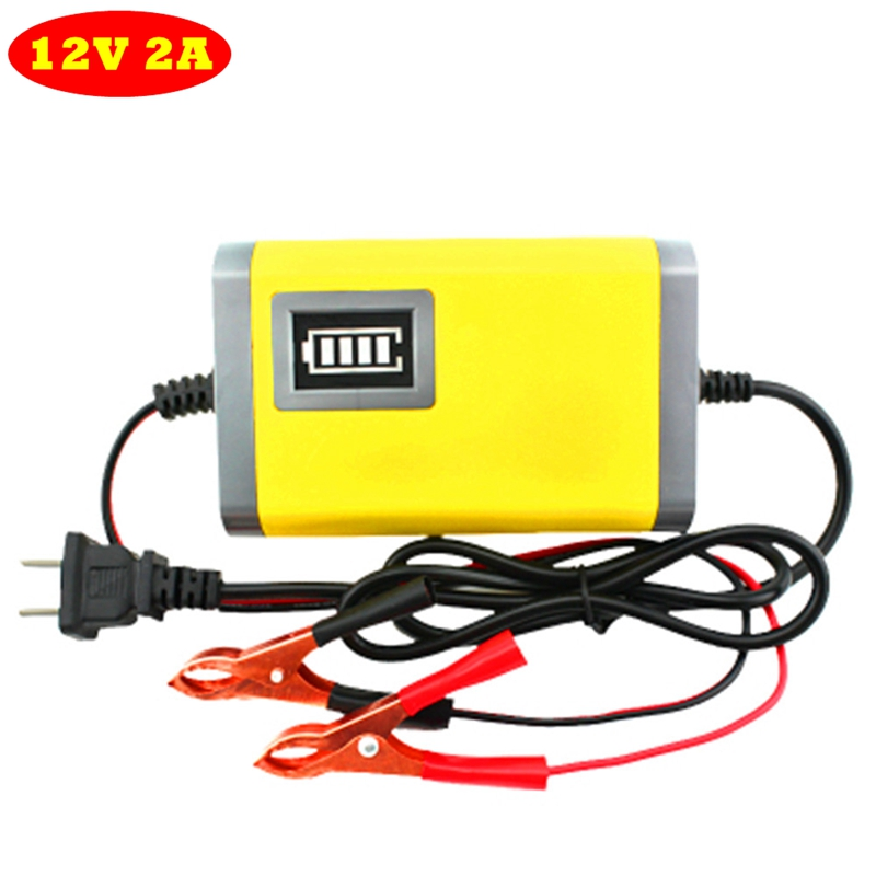 1Pcs 12V 2A Charger Auto Car Charger Rechargeable AGM Storage Lead Acid Power Supply 12V 2A Motorcycle Charger 90V-240V 12v 2a