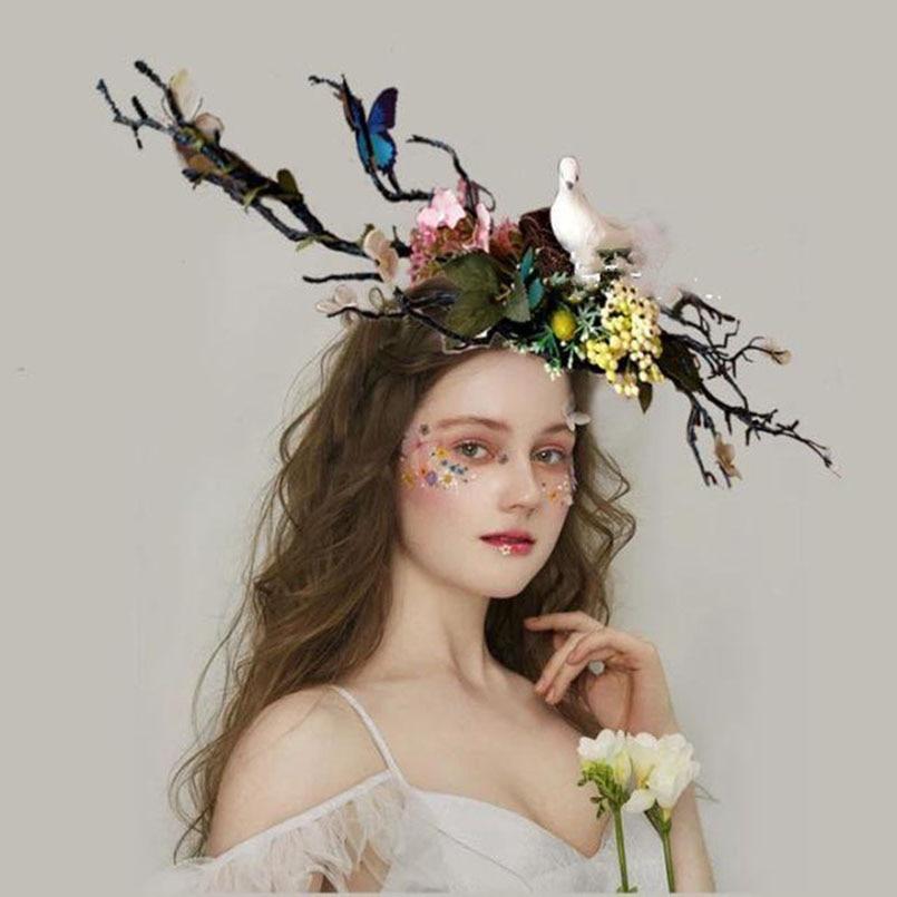 bird flower butterfly headband mask bride photograph show