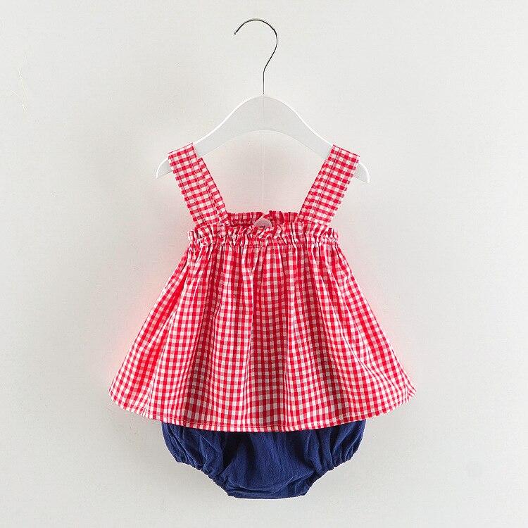 Летний стиль в клетку комплект детской одежды для маленьких девочек ремни наряды для младенцев для новорожденных девочек Комплекты одежды