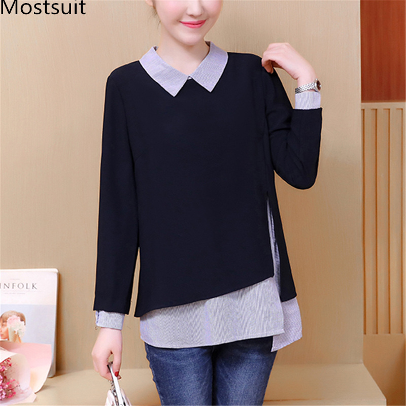 L-5xl Plus Size 2018 Autumn Black   Blouses     Shirt   Fake Two Pieces Striped Patchwork Office Casual Pullover Blusas Femininas Kimino