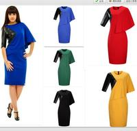 Plus Size 6XL Woman Dress Summer Loose Ladies Party PU Patchwork Unique Dress Casual Ssummer Pencil Dress Drop shipping
