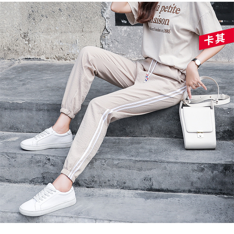 2019 Summer Women Ankle Length Leisure Pants Bottoms Female Side Striped Pants Sweatpants Sportswear Harem Pants Loose Trousers