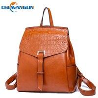 Chuwanglin Vintage leather backpack women Crocodile pattern school bags casual Multifunction travel bag mochila feminina A9120