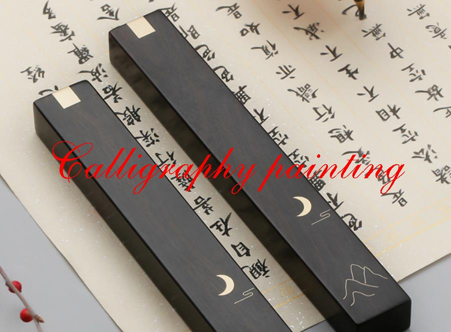 A Pair Paperweights Black Catalpa Wood Carving Copper Inlay Chinese Water Ink Brush Painting Calligraphy Sumi-E ToolA Pair Paperweights Black Catalpa Wood Carving Copper Inlay Chinese Water Ink Brush Painting Calligraphy Sumi-E Tool